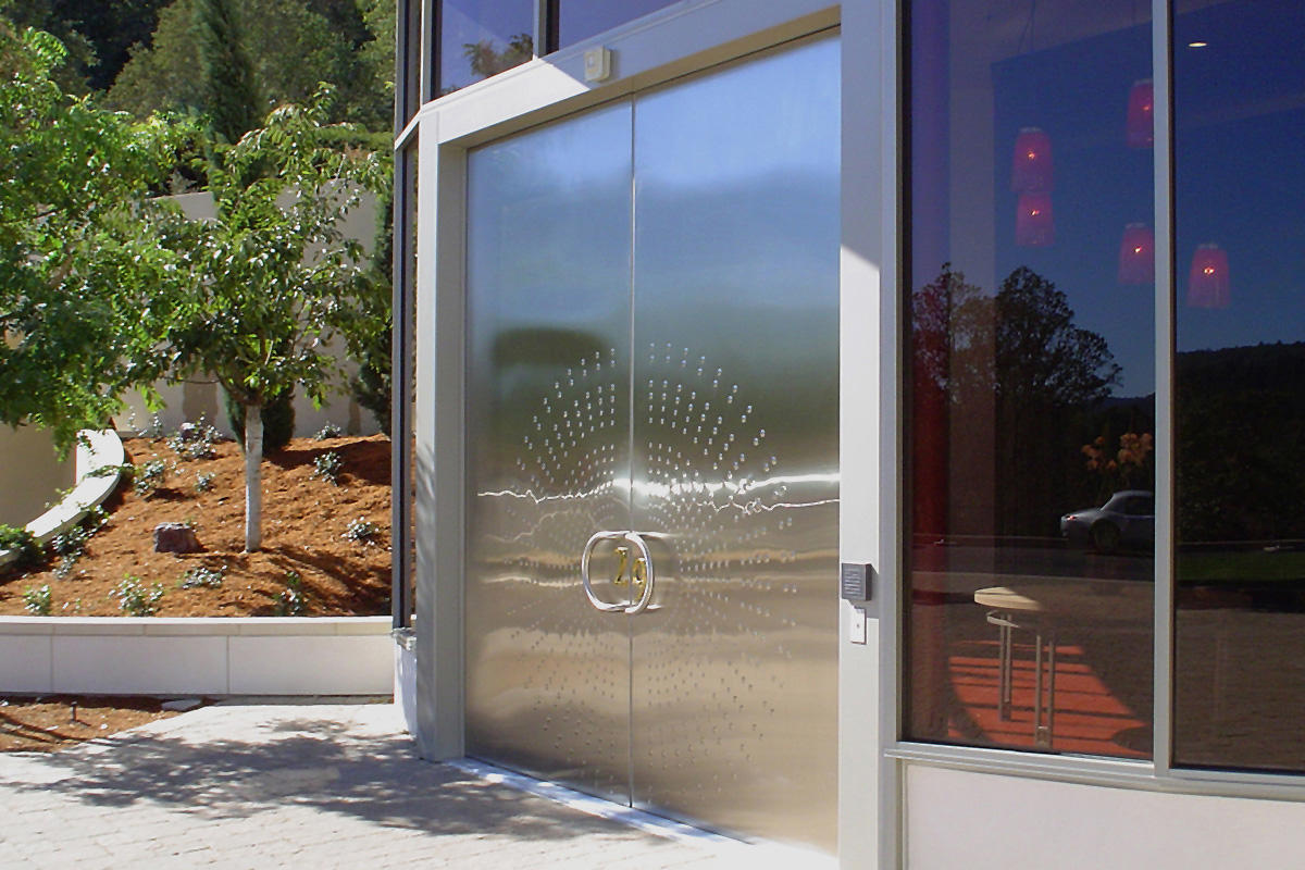 Stainless steel doors architectural forms surfaces for Entrance doors