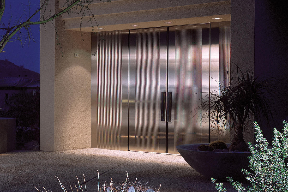800 #2B2B68 Stainless Steel Doors In Satin Finish With Dallas Impression Pattern save image Stainless Steel Entrance Doors 47371200