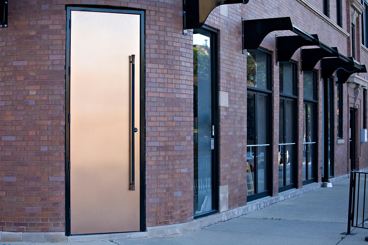 Fused metal doors architectural forms surfaces for Metal entry doors