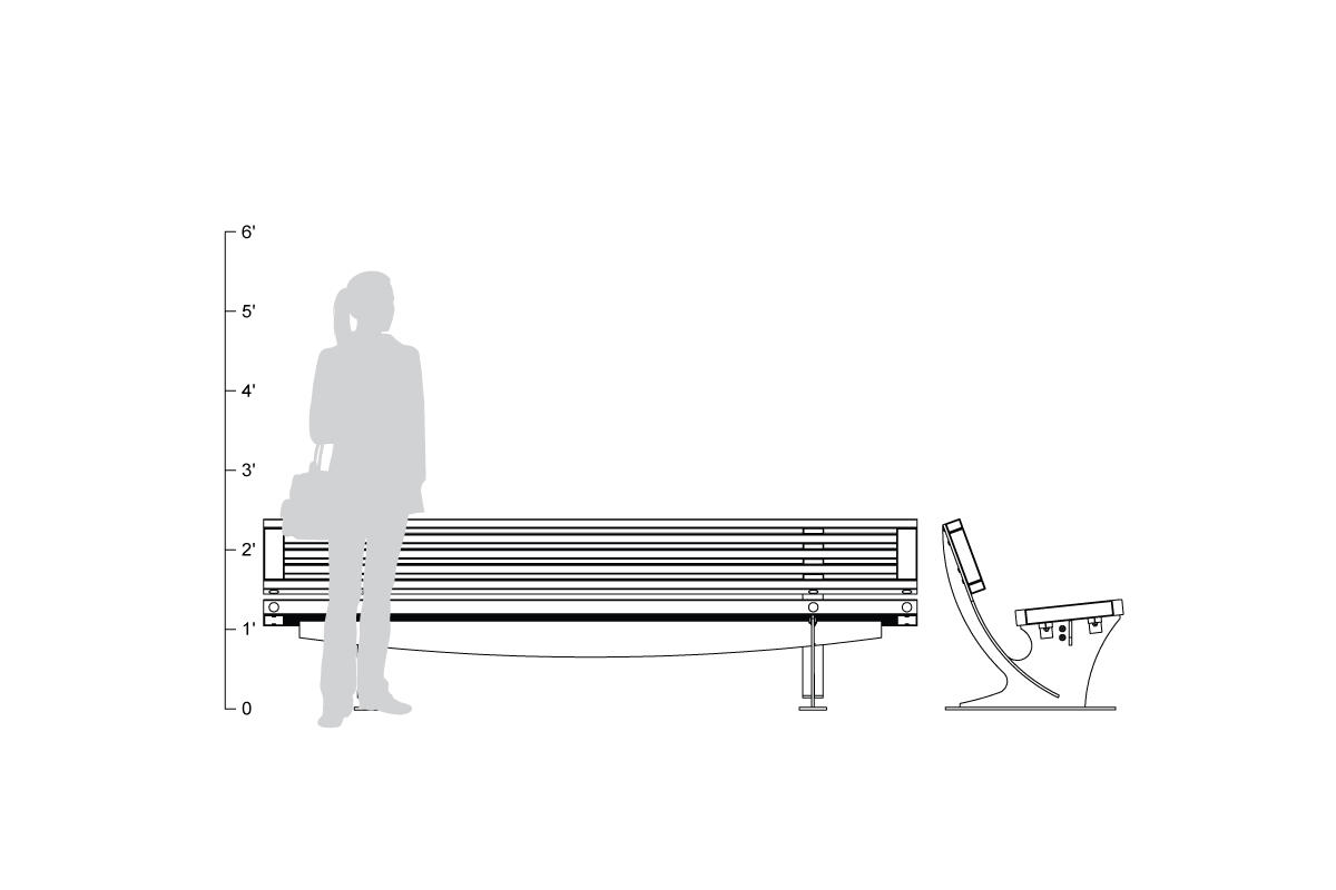 Pacifica Bench, 8 foot, full back, freestanding, shown to scale