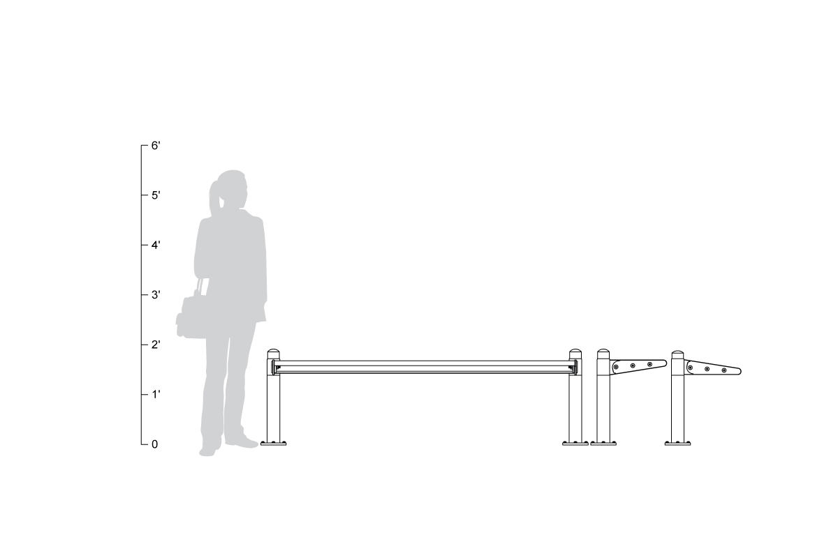 Transit Seating, single-sided, backless, shown to scale