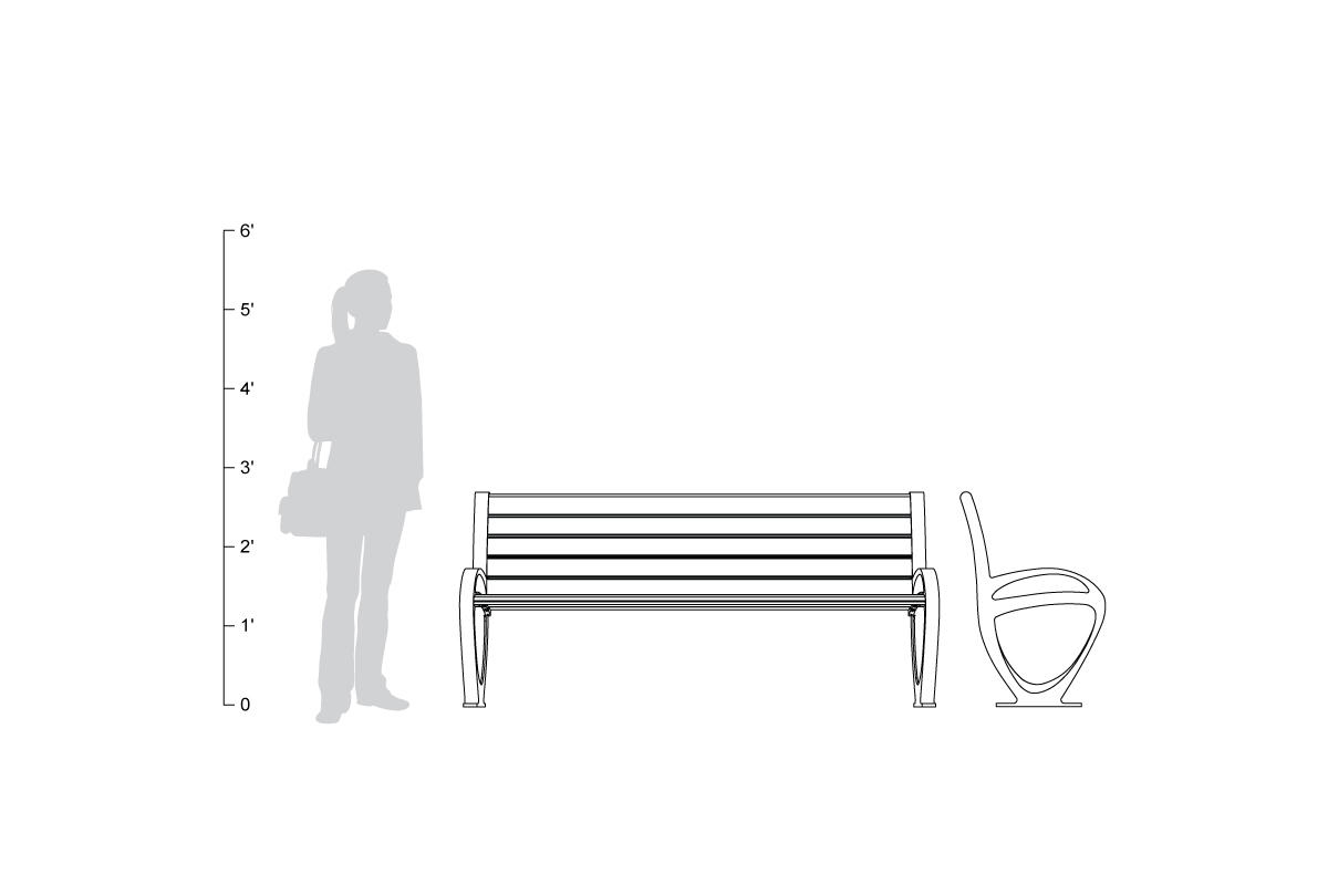 Trio Bench, 6 foot, backed, shown to scale
