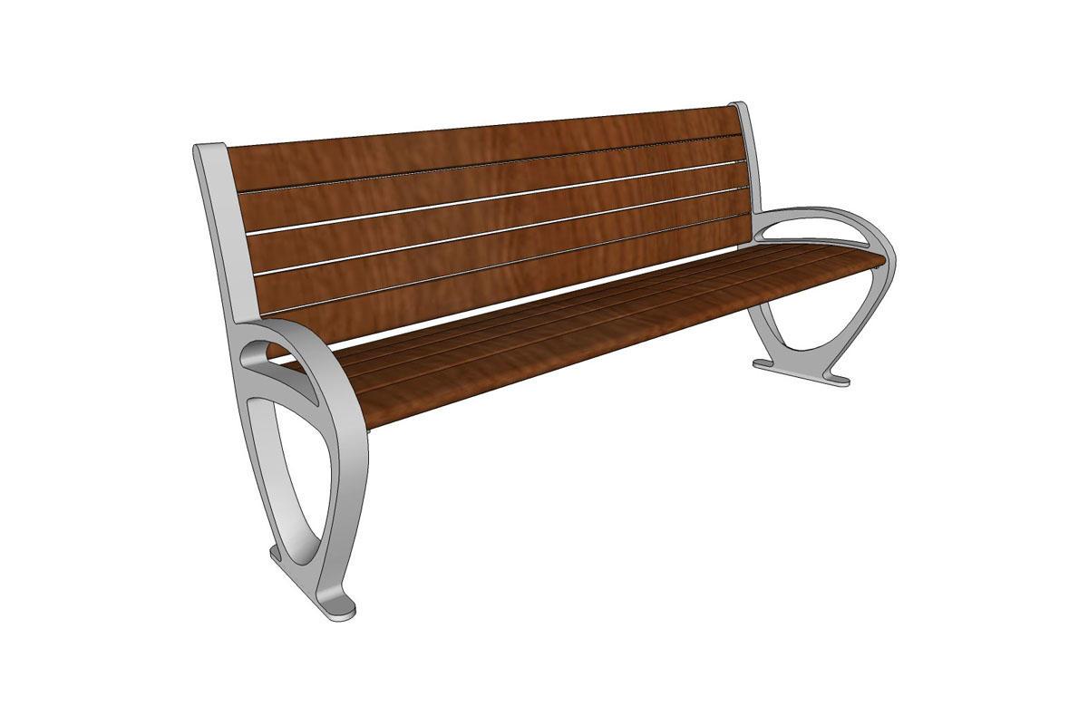 Trio Bench, 6 foot, backed, FSC Pure Ipé hardwood slats