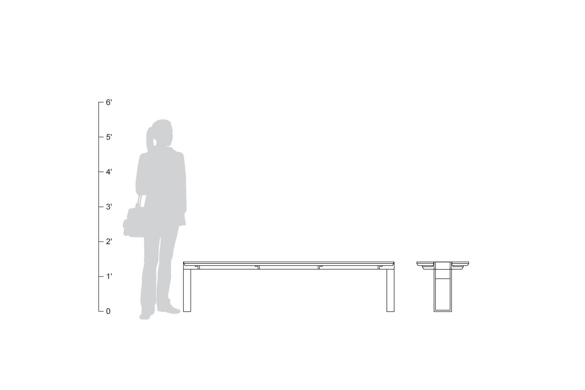 Apex Bench, narrow legs, shown to scale