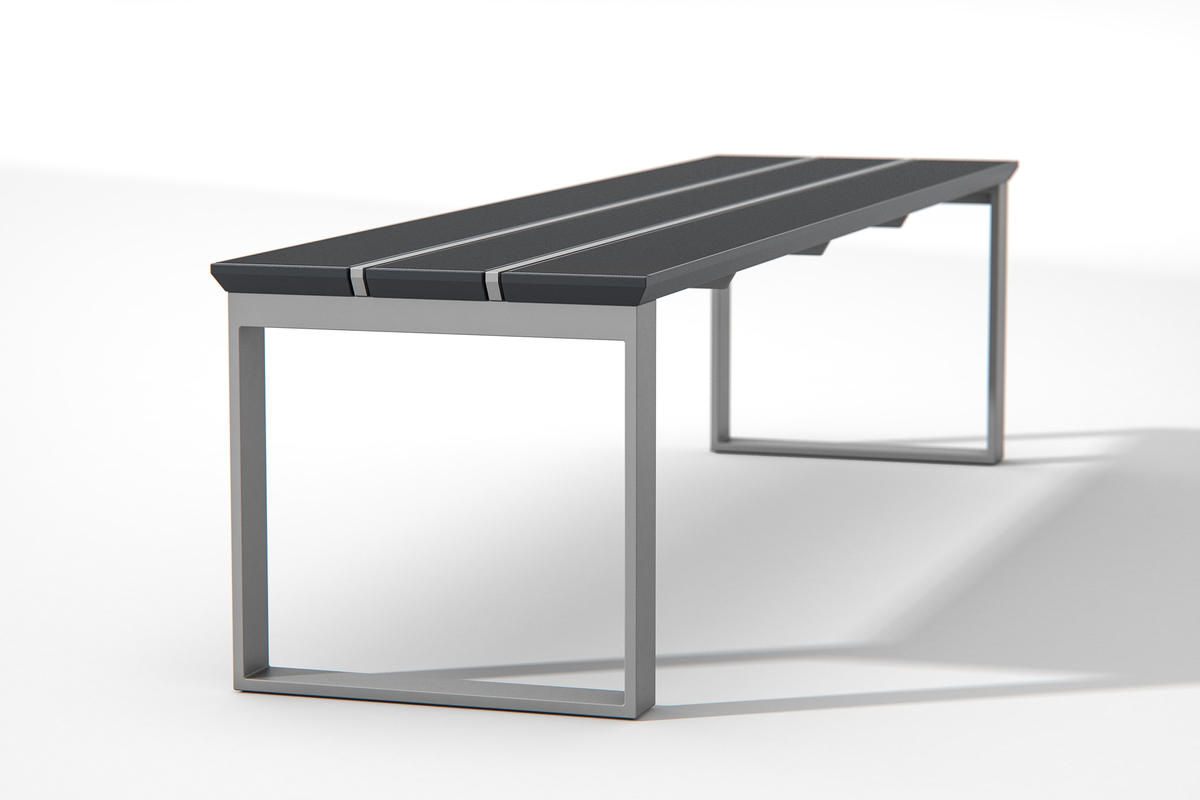 Apex Bench shown in standalone bench configuration with Ink Blue Texture powderc