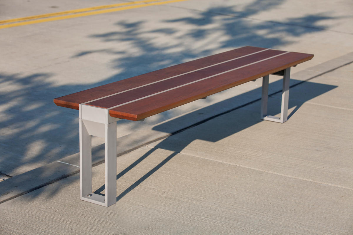 ... Apex Bench Shown With Aluminum Texture Powdercoated Frame And FSC® 100%  Jatoba