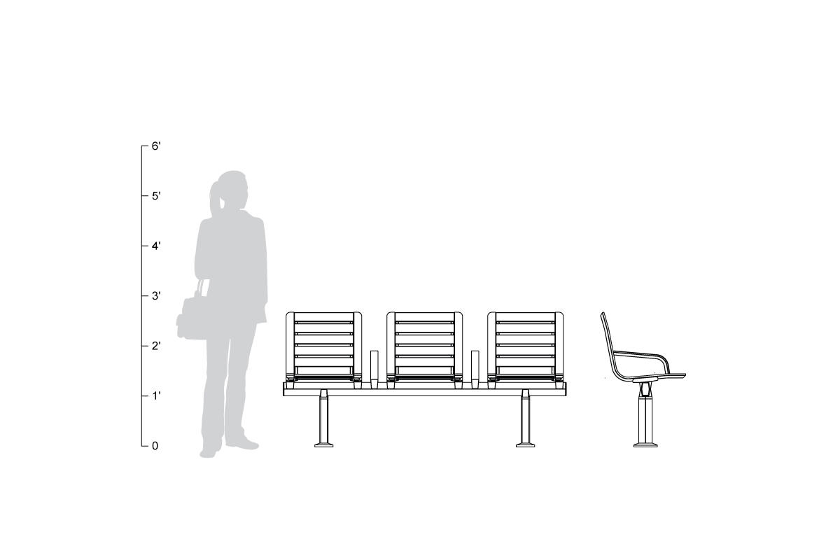 Tangent Rail Seating with backed, slat seats, shown to scale