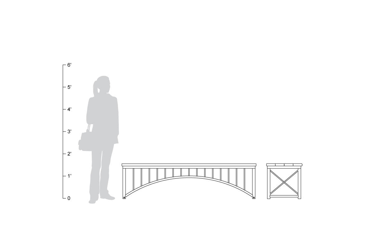 Bridge Bench, straight, 6 foot, shown to scale