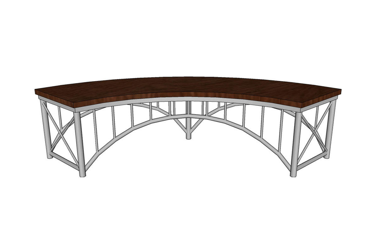 ... Bridge Bench, curved, solid Mahogany seat ... - Bridge Bench Outdoor Forms+Surfaces