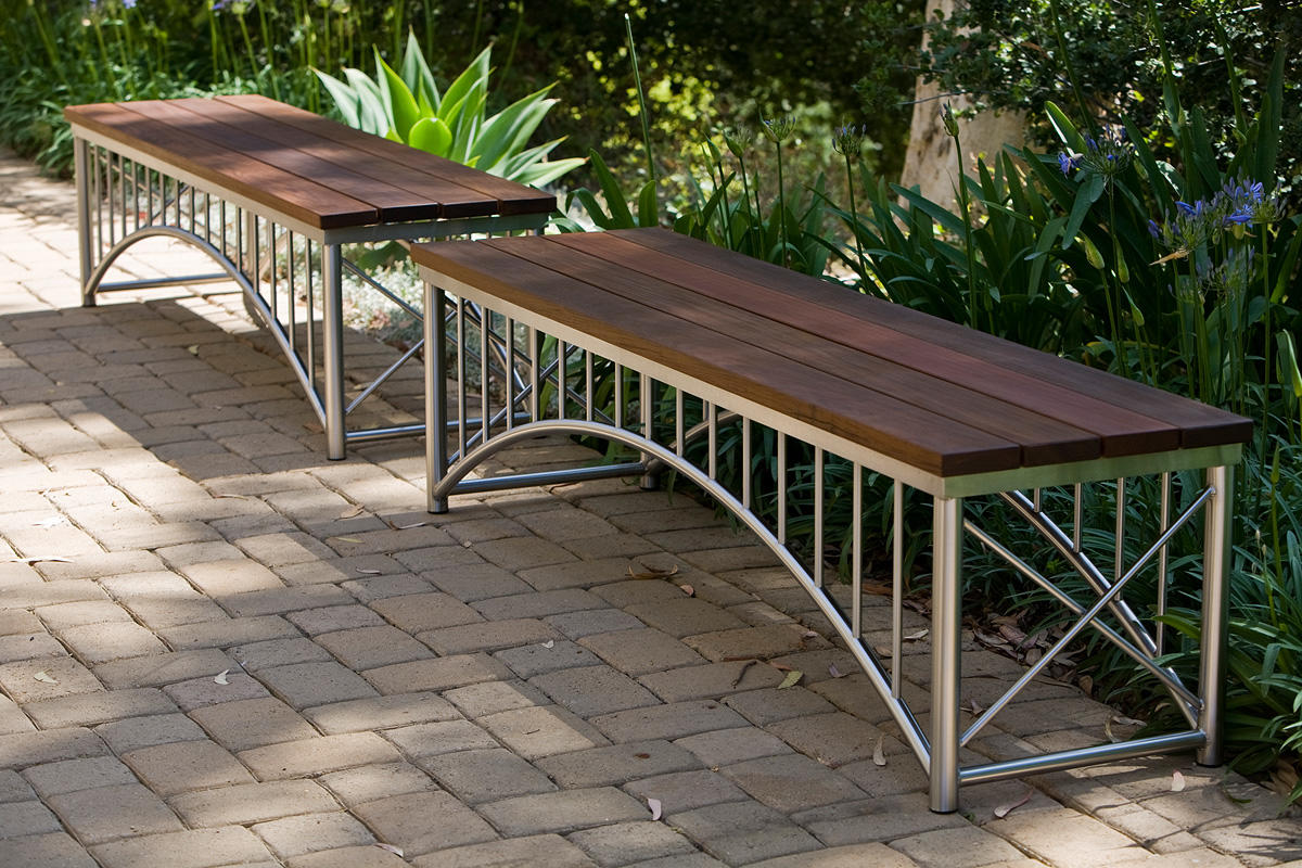 Bridge Benches, straight, Satin Stainless Steel frames, FSC® 100% Ipé slats