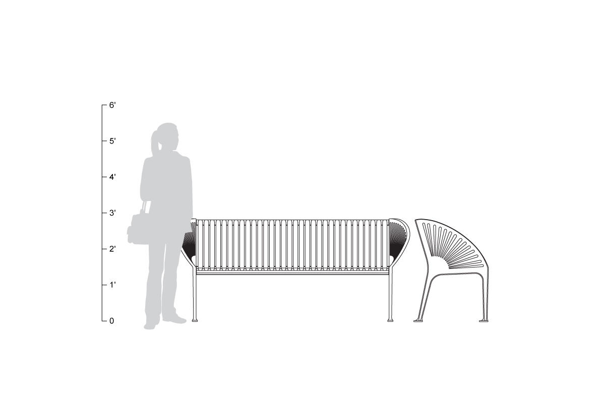 Copenhagen Bench, 6 foot, shown to scale