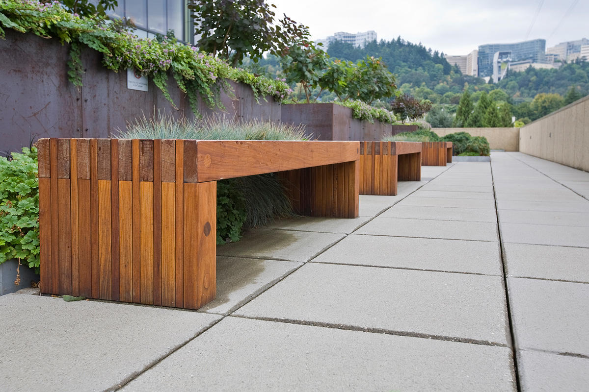 Hudson Benches shown in 6 foot, freestanding, FSC® 100% Ipé slats
