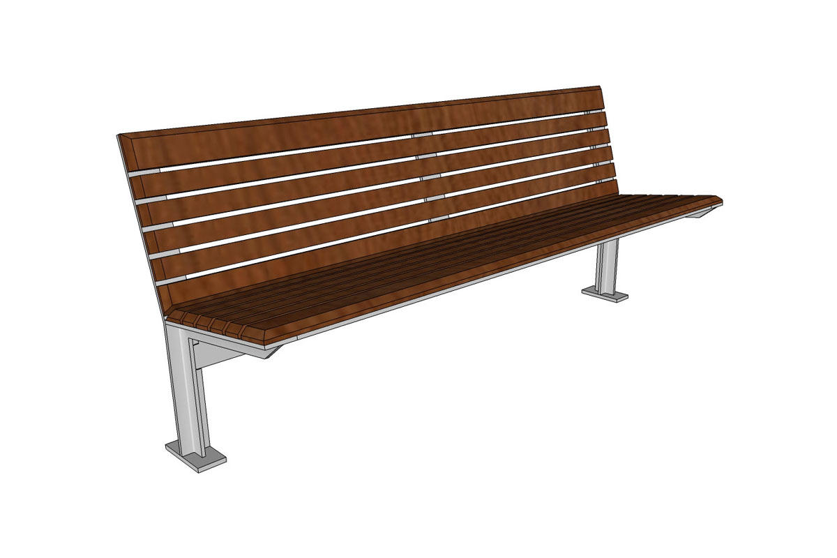 Knight Bench, backed, 6 foot