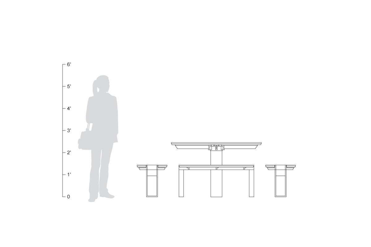 Apex Table Ensemble, shown to scale