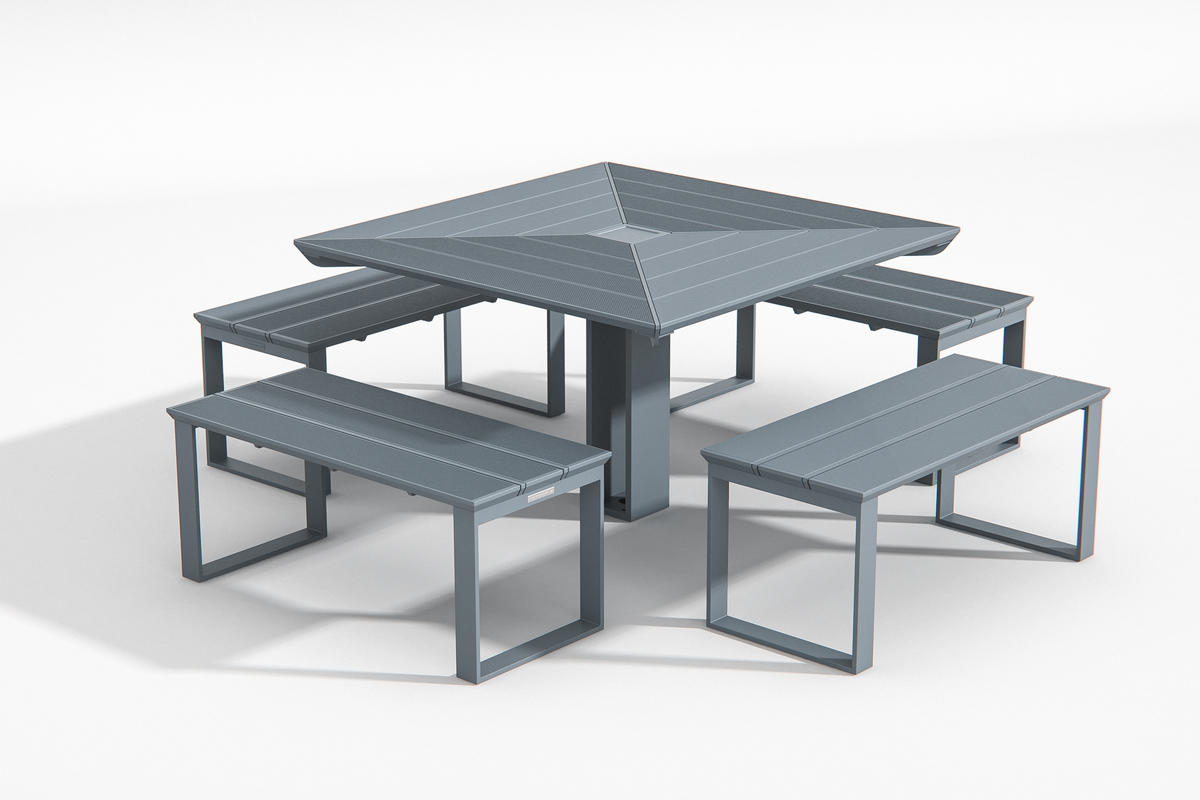 Apex Table Ensemble shown in four-bench configuration with Cool Grey Texture pow
