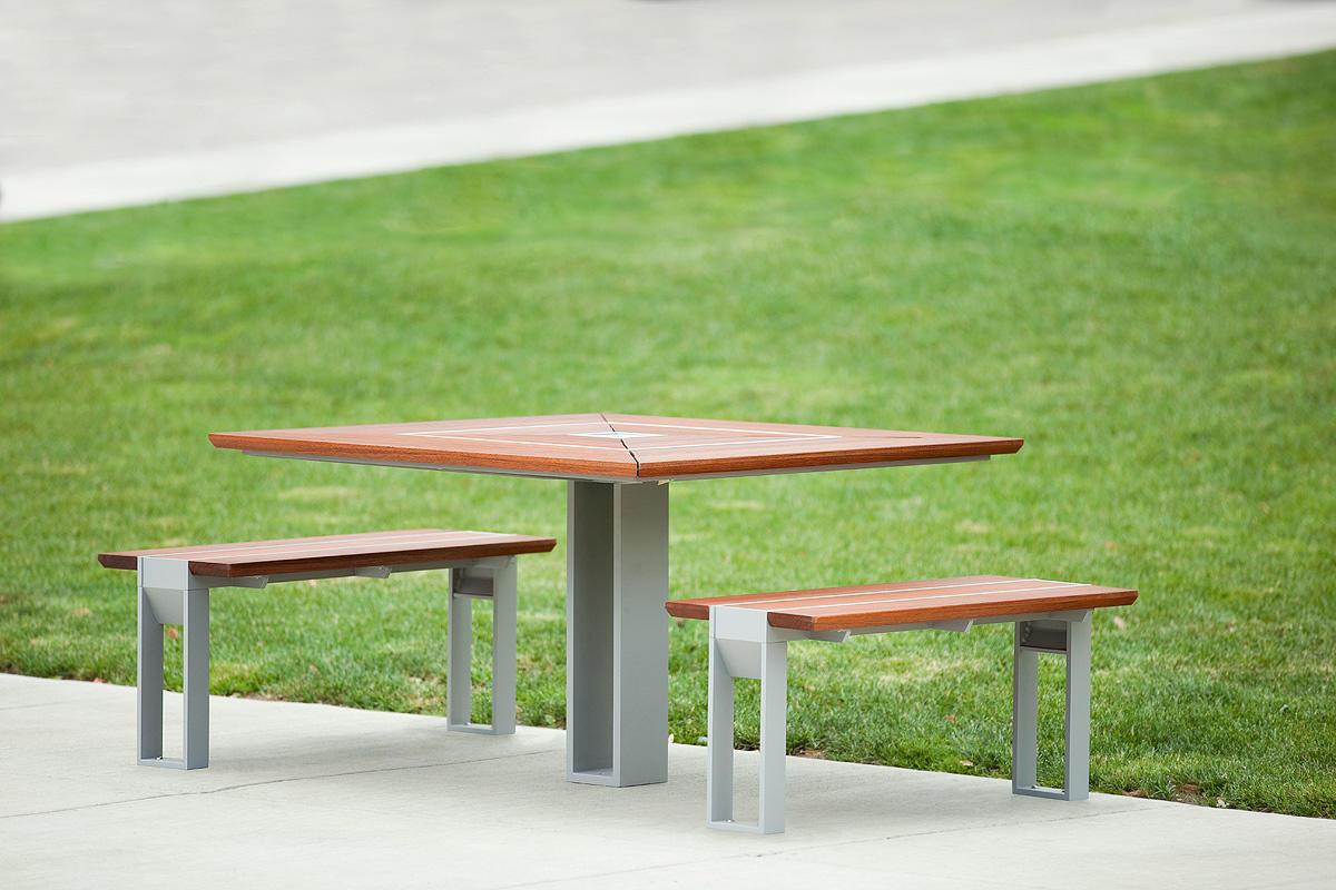 ... Apex Table Ensemble, Two Benches, Aluminum Texture, FSC® 100% Jatoba ...