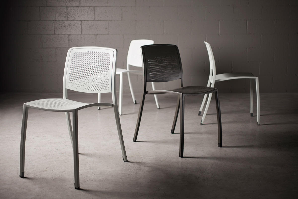 Avivo Chairs (starting from left) shown with Cream Texture powdercoat