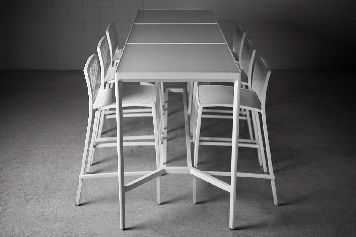 Avivo Bar Table shown with Cream Texture powdercoat