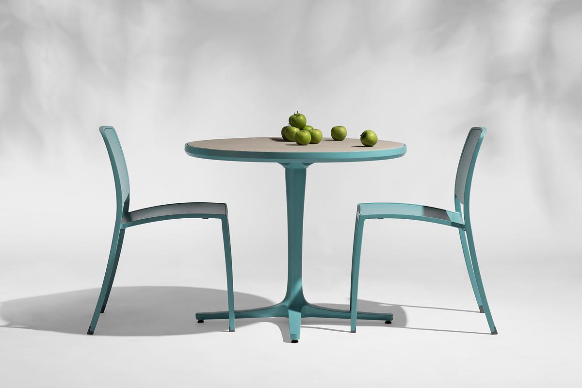 "Avivo Pedestal Café Table, 36"" diameter top, shown with custom color powdercoat"