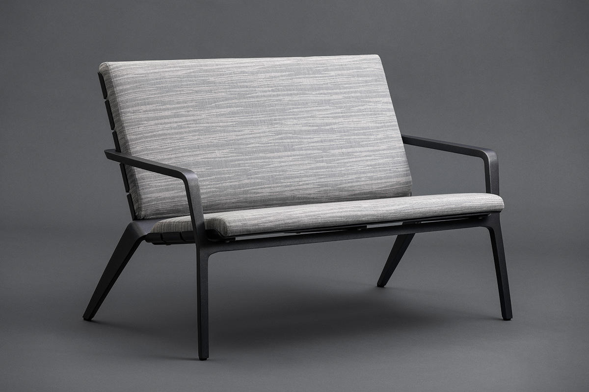Vaya Textile Chair Bench shown with Dark Grey Metallic Texture