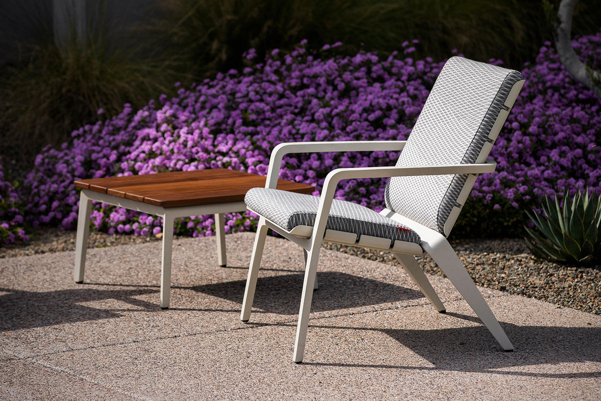 Vaya Textile Chair and Vaya Side Table shown with Alabaster Texture