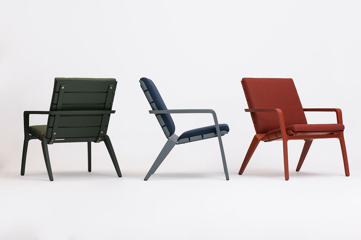 Vaya Textile Chairs shown in Moss Texture, Cool Grey Texture, and Clay Texture