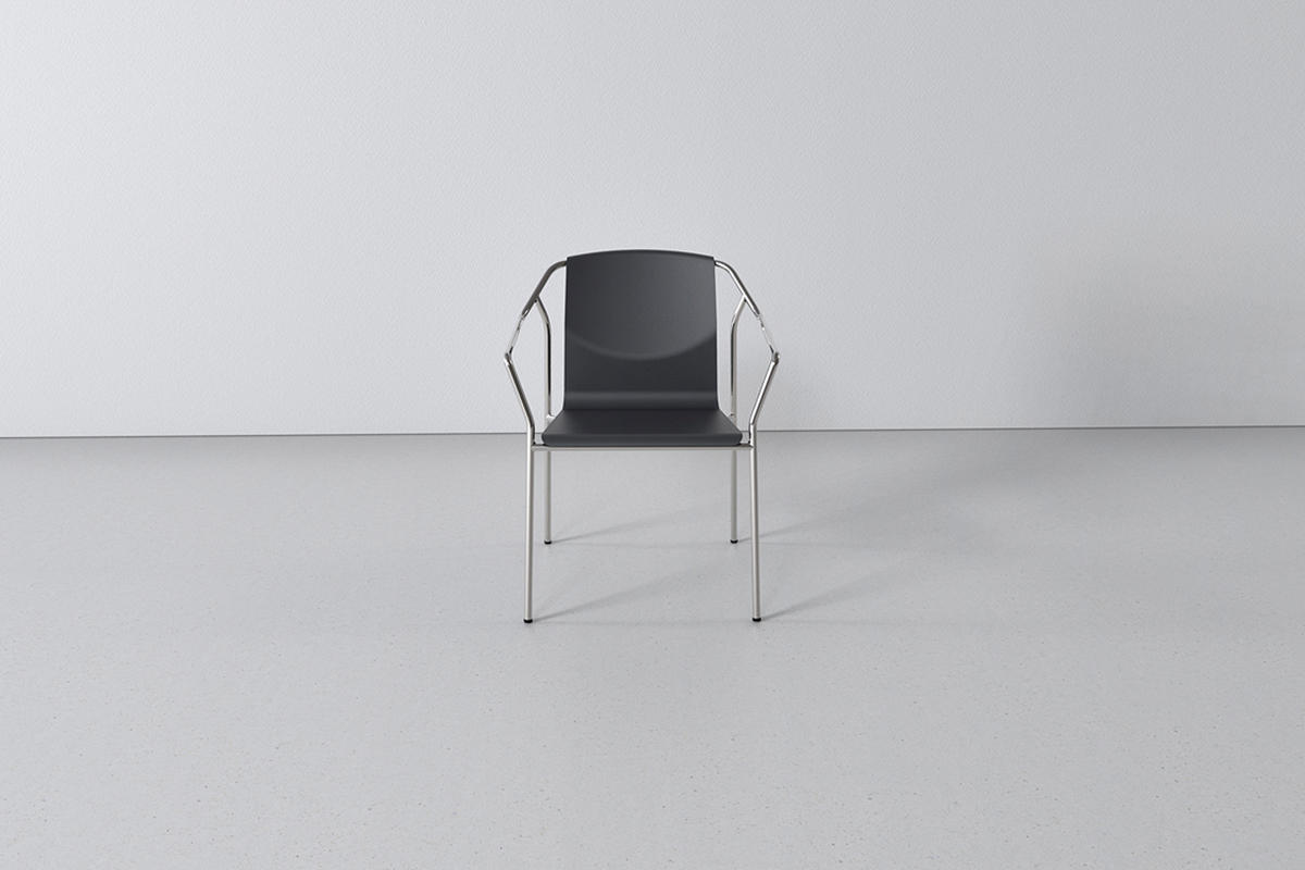 Factor Chair shown in formed aluminum seat and back configuration