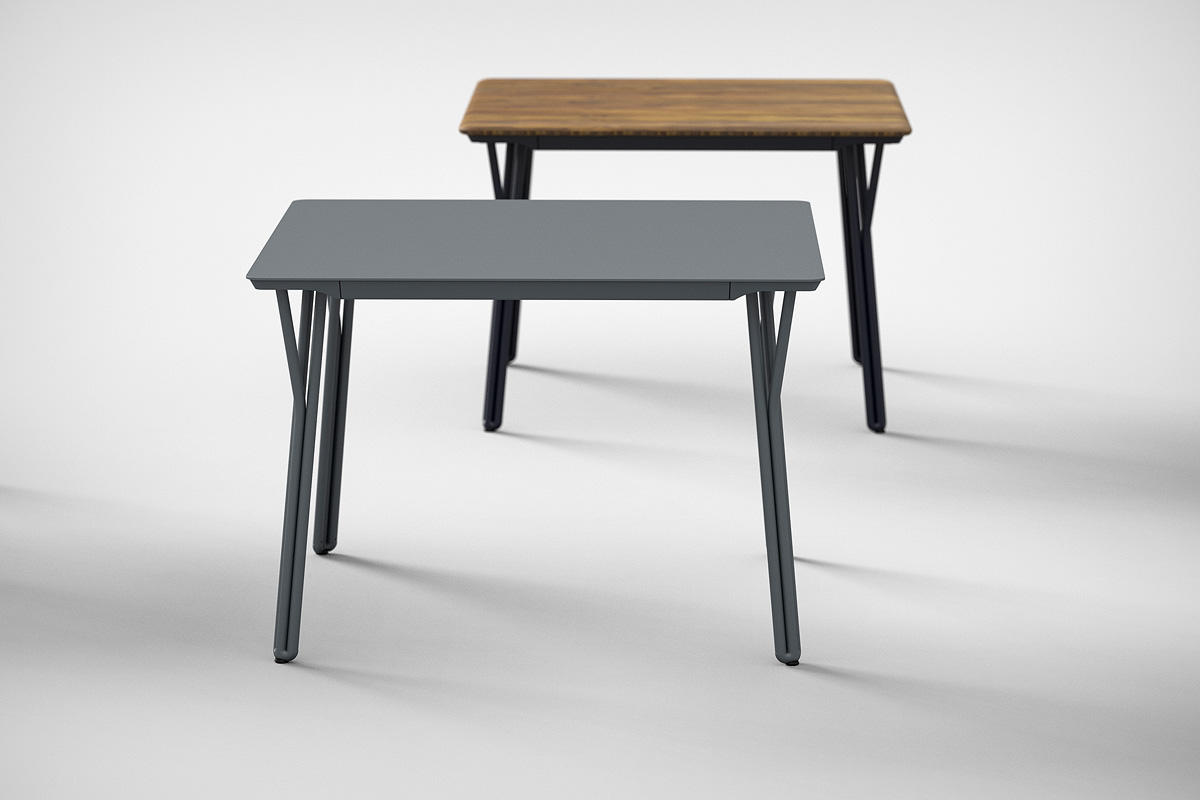 Factor Table shown with Cool Grey Texture powdercoated frame and aluminum table