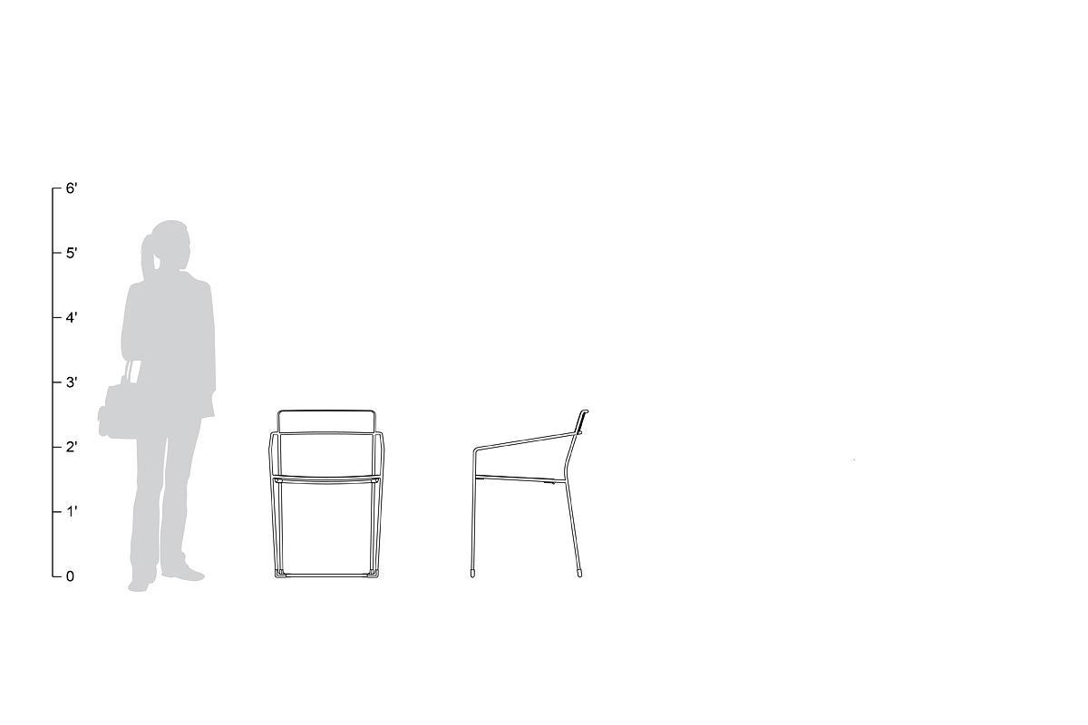 Linia Café Chair, shown to scale