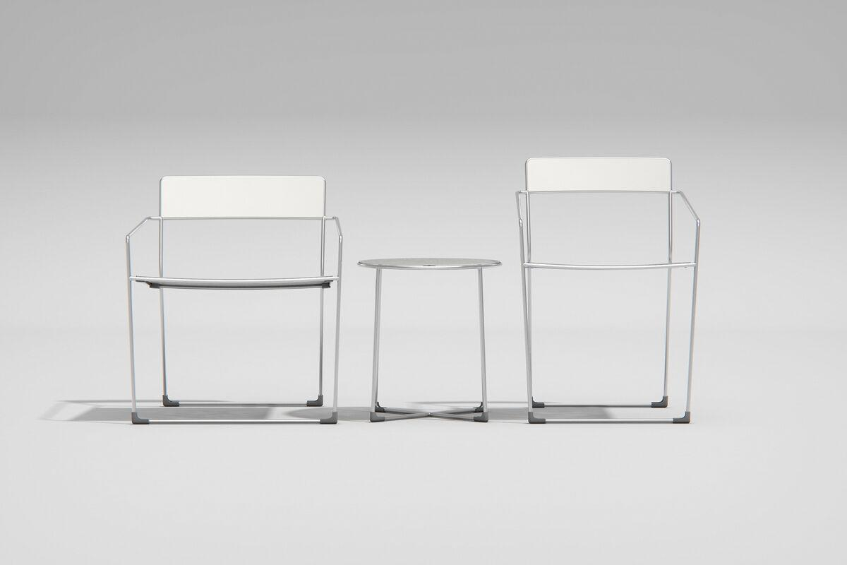 Linia Lounge and Café Chairs shown with Alabaster Texture powdercoat