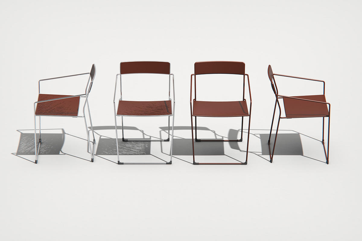 Linia Café Chairs shown with Clay Texture powdercoated seat and back