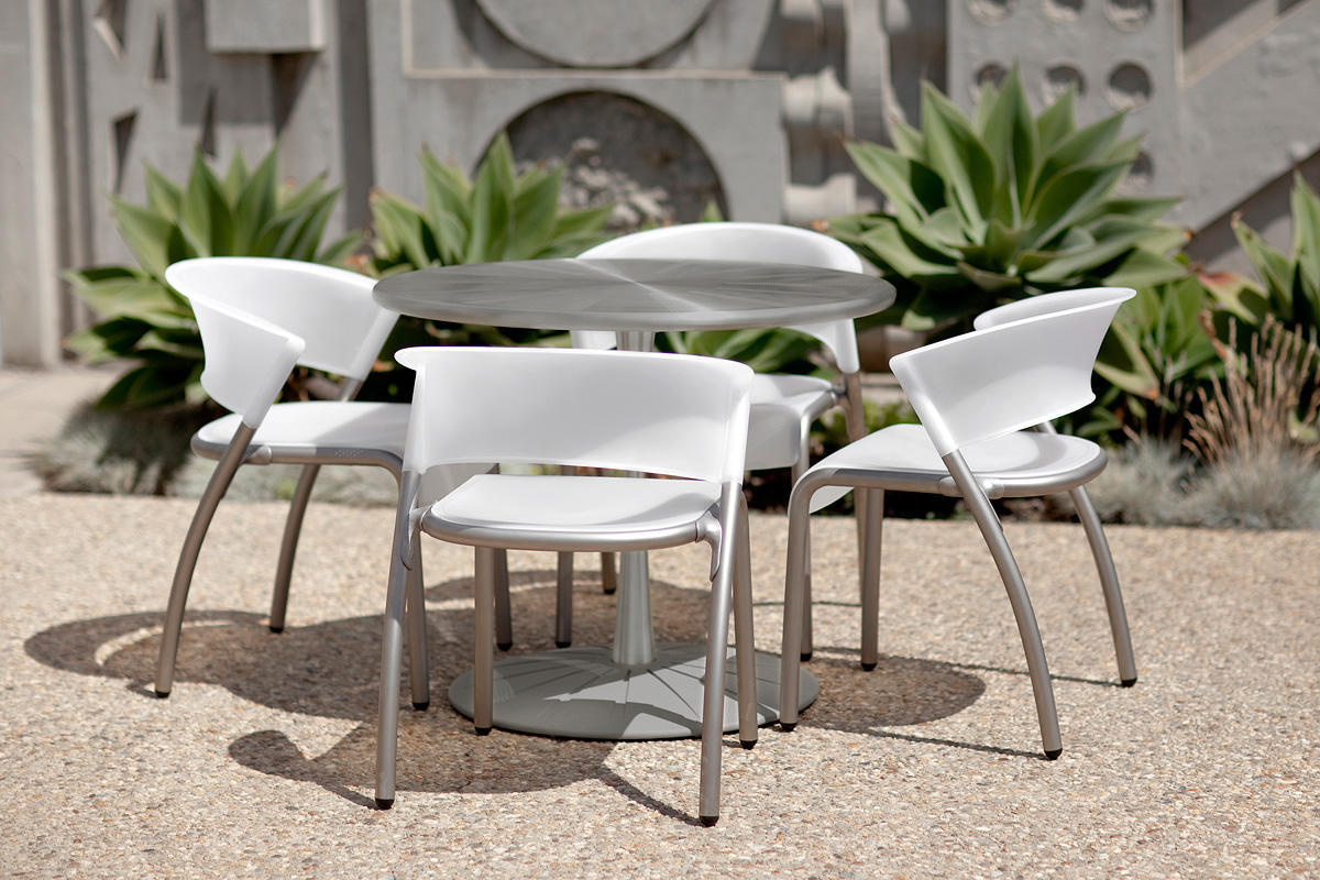 Citrus Table shown with Aluminum Texture powdercoated base; Bantam Chairs