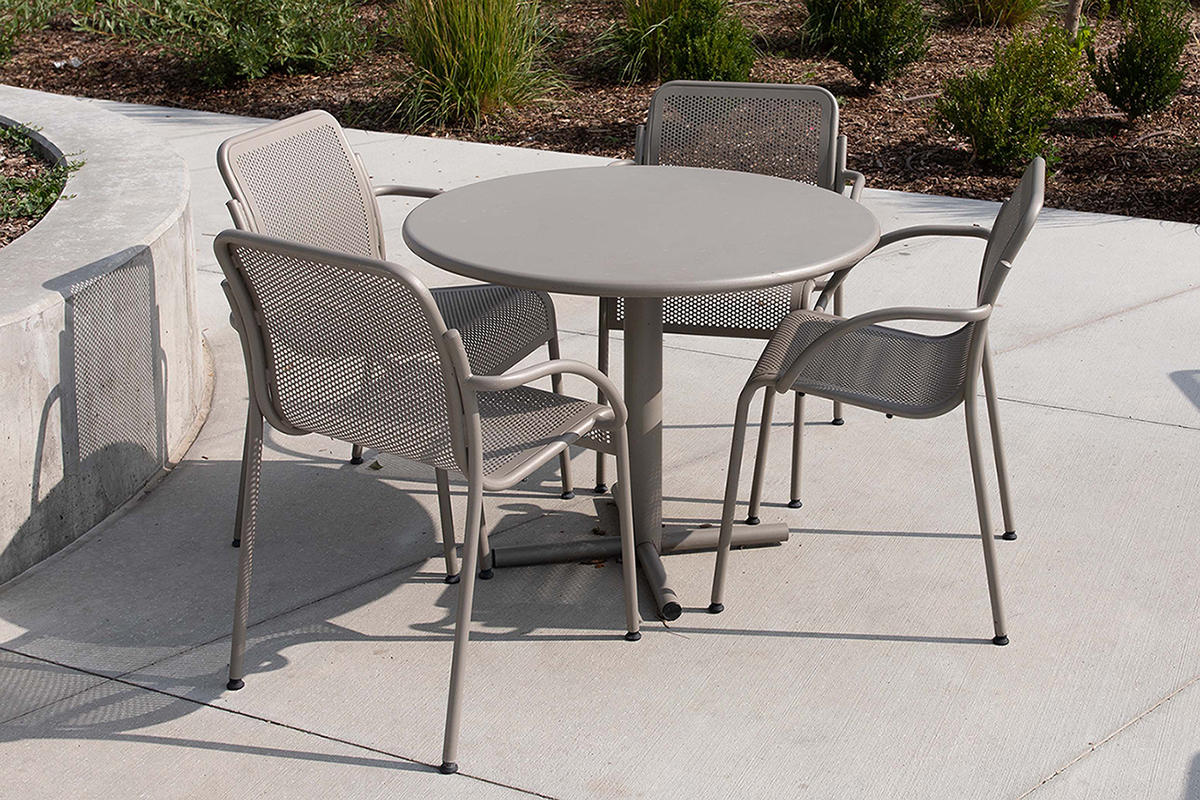 """Cross Table with 36"""" round table top and 24"""" base with Argento Texture powder"""