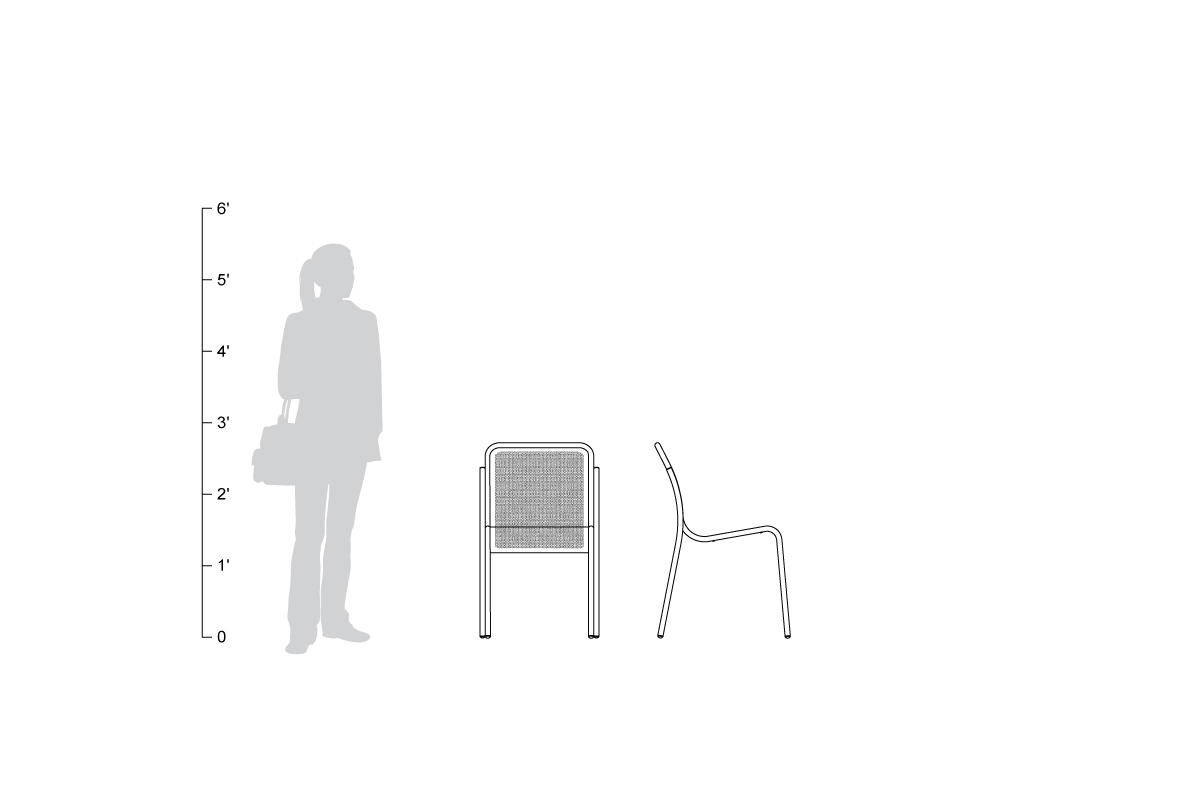 Visa Chair, without arms, shown to scale