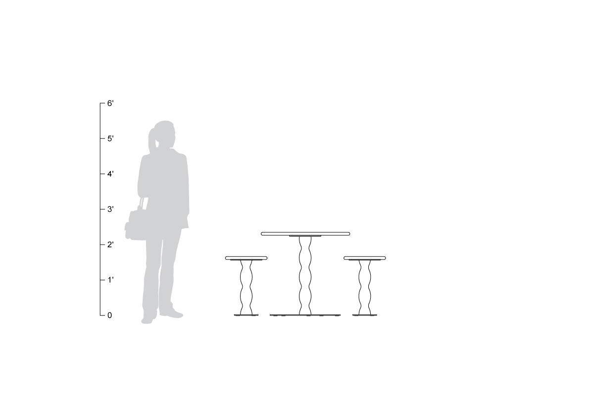 Wave Table & Seats, shown to scale