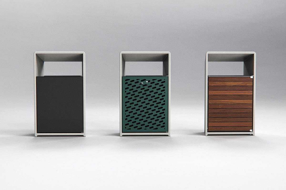 Bevel Litter Receptacles shown in multiple configurations