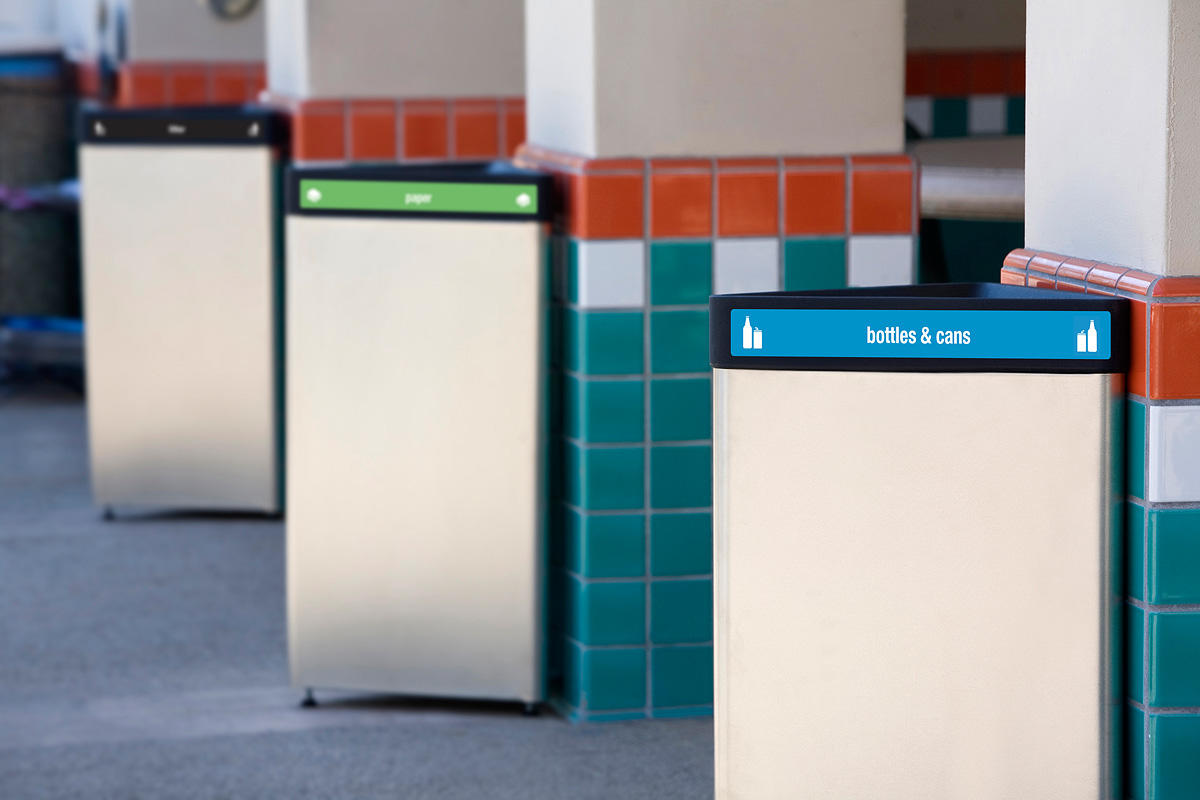 Triad Litter & Recycling Receptacle | Outdoor | Forms+Surfaces