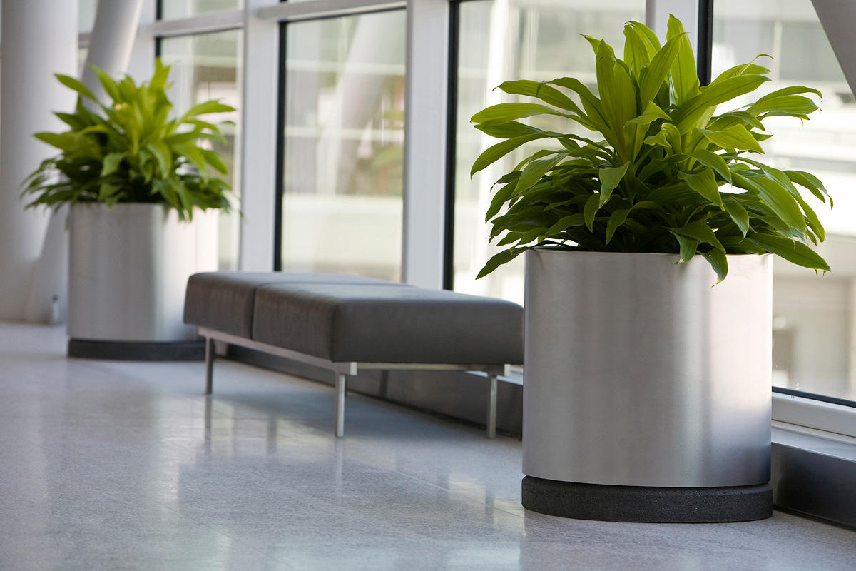 universal planter  outdoor  formssurfaces -  universal planter  gallon stainless steel sandstone black sandconcrete