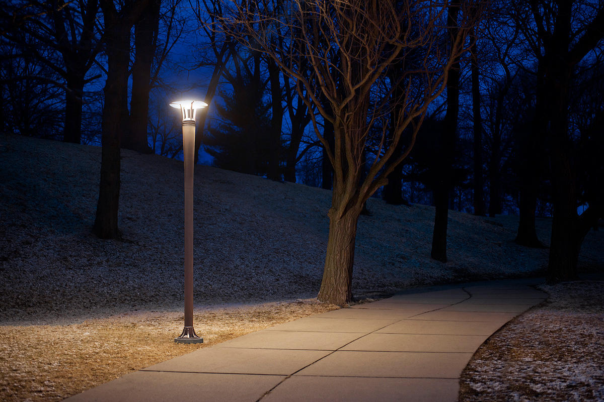 Cordia Pedestrian Lighting shown with Argento Texture powdercoat