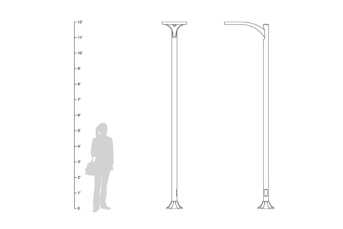 Aptos Pedestrian shown in single luminaire configuration, shown to scale