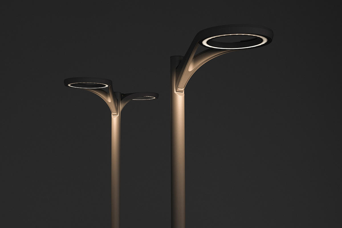 Aptos Pedestrian shown in single and double luminaire configurations
