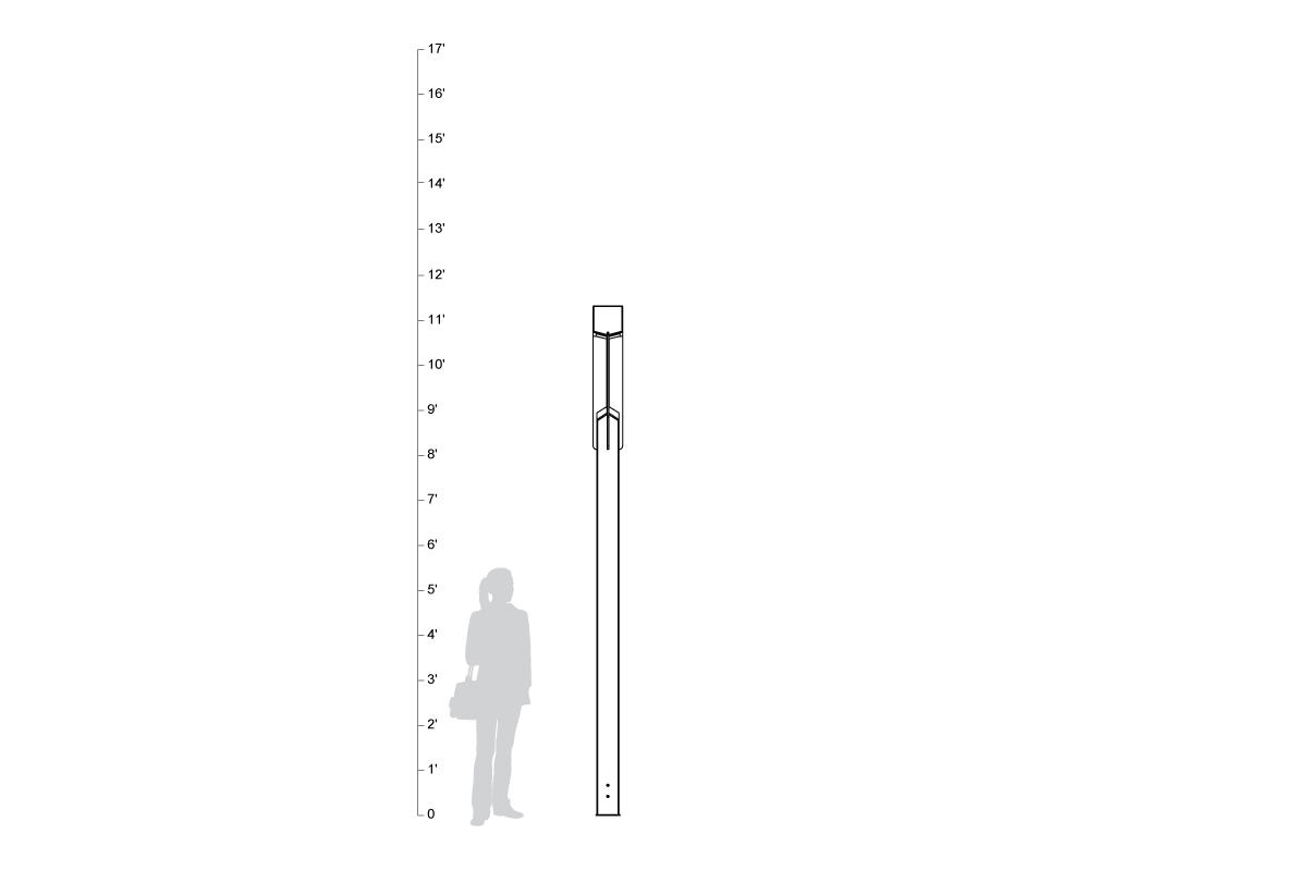 Knight Pedestrian Lighting, shown to scale.