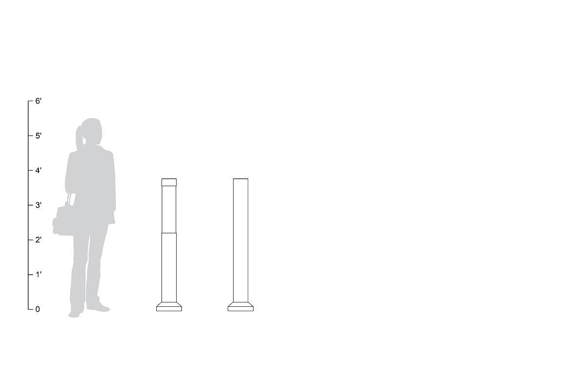 Light Column Bollards, Series 500, shown to scale