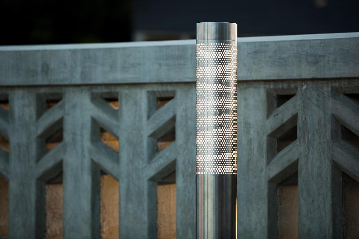 Outdoor Light Bollards Light column bollard outdoor formssurfaces light column bollard shown with 360 degree scape shield workwithnaturefo