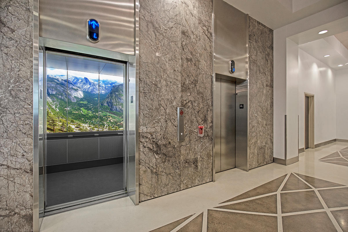 LEVELe-105 Elevator Interior with LightPlane Panels in ViviSpectra Zoom glass wi