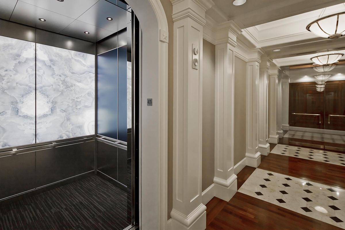 Levele 106 Elevator Interior With Lightplane Panels In Vivistone Pearl Onyx