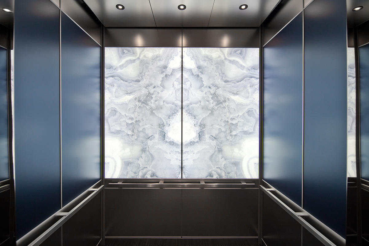 LEVELe-106 Elevator Interior with LightPlane Panels in ViviStone Pearl Onyx