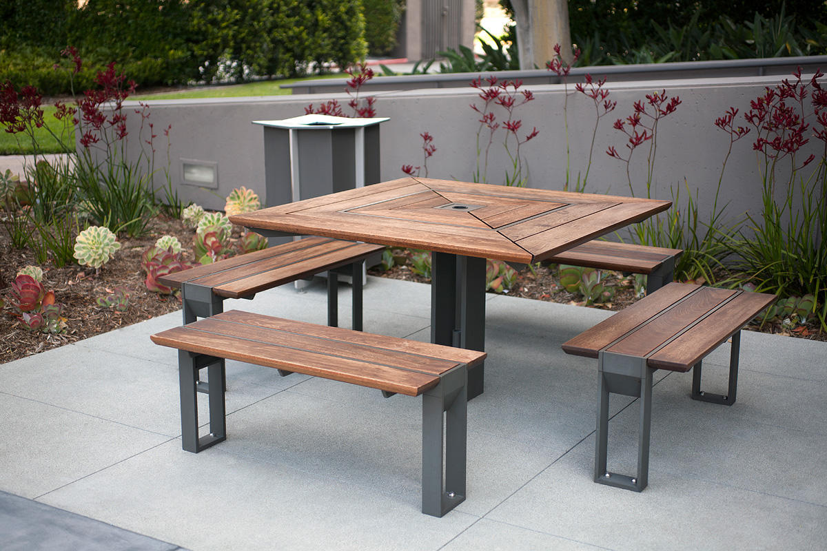 Apex Table Ensemble shown in four-bench configuration with Slate Texture
