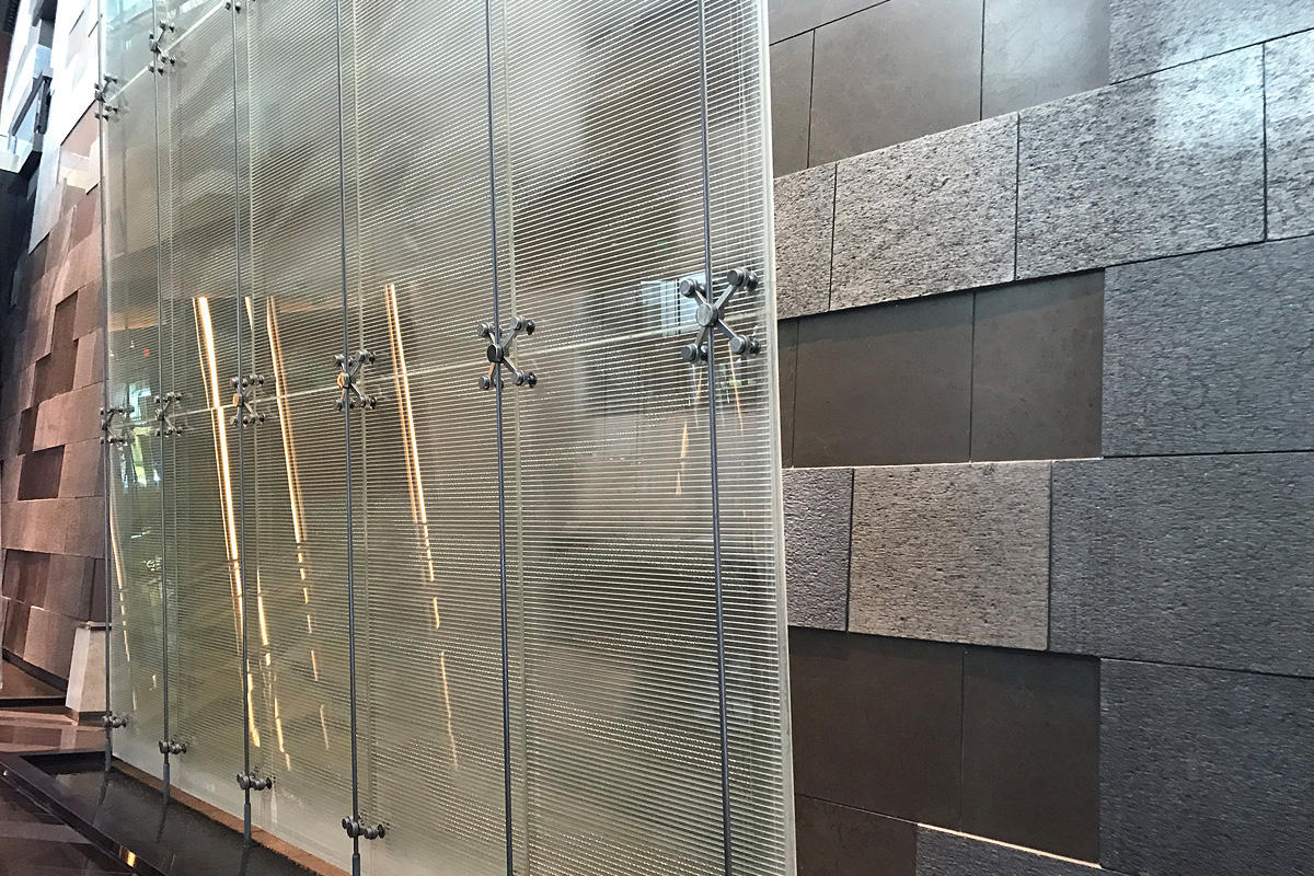 Water feature with BermanGlass Profile Kiln Cast Glass in custom texture at Aria Resort \u0026 Casino Las Vegas Nevada & Aria Resort \u0026 Casino | Forms+Surfaces