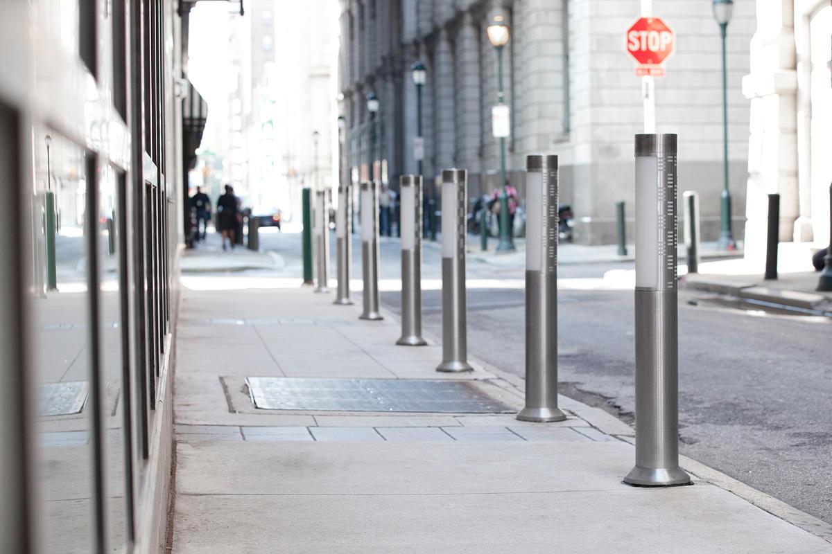 Light Column Bollards shown with 180 degree custom shields at The Lift Philadelphia Pennsylvania & The Lift | Forms+Surfaces azcodes.com